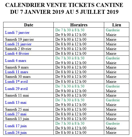 Calendrier cantine